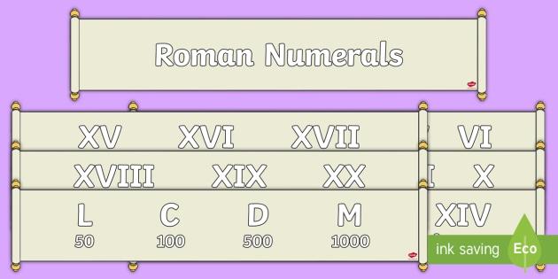 Roman Numerals Scrolls Display Banners - roman, roman numerals