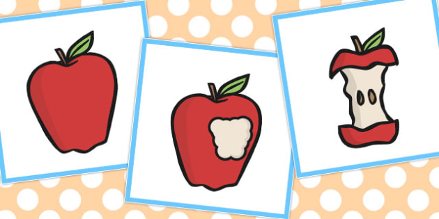 3 Step Sequencing Cards Eating An Apple - Eat, Apple, Sequencing