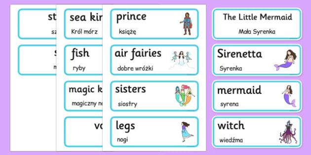 The Little Mermaid Word Cards Polish Translation - polish, the little mermaid, word cards, word, cards