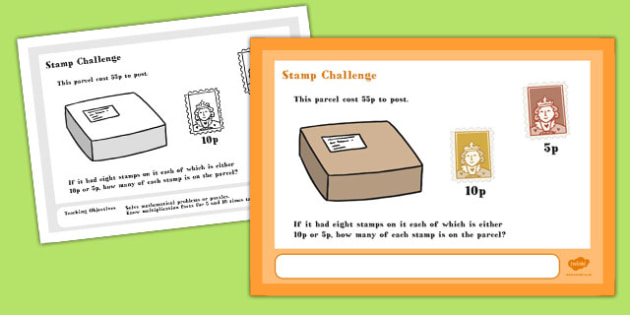 A4 Stamp Maths Challenge Poster - posters, numeracy, challenges