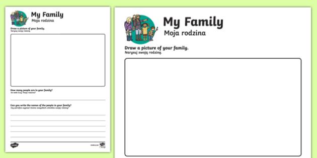 All about my Family Activity Sheet Polish-English Translation, worksheet