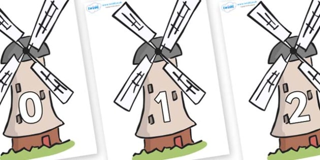 Numbers 0-31 on Windmills - 0-31, foundation stage numeracy, Number recognition, Number flashcards, counting, number frieze, Display numbers, number posters