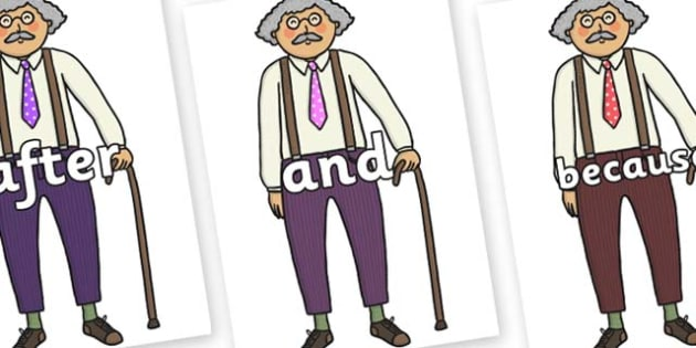 Connectives on Little Old Man - Connectives, VCOP, connective resources, connectives display words, connective displays