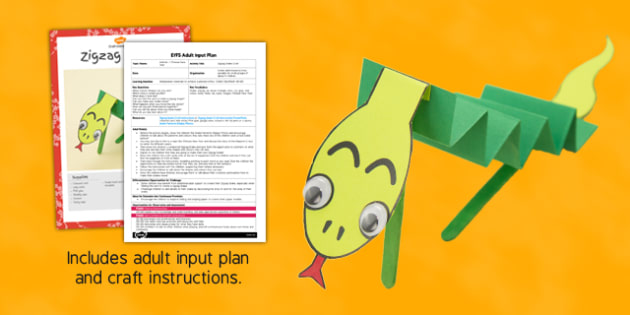 ZigZag Snake Craft EYFS Adult Input Plan and Resource Pack - pack, zig zag, snake, craft, adult input, plan, resource