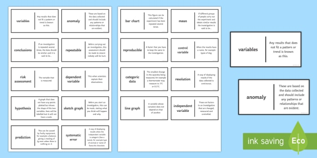 Scientific Inquiry Patience Glossary Activity - Glossary, scientific enquiry, variable, data, mean, control