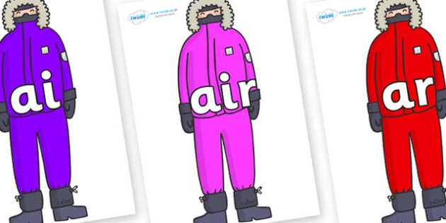 Phase 3 Phonemes on Arctic Explorers - Phonemes, phoneme, Phase 3, Phase three, Foundation, Literacy, Letters and Sounds, DfES, display
