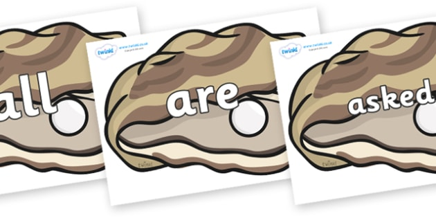 Tricky Words on Oysters - Tricky words, DfES Letters and Sounds, Letters and sounds, display, words