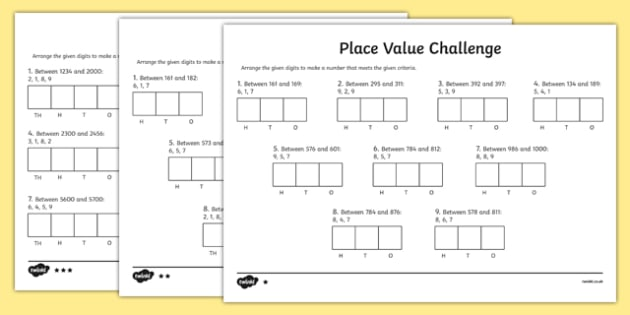 Place Value Challenge Activity Sheet  Place Value Place Value