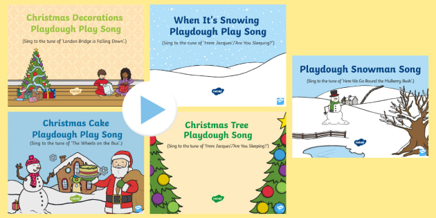 Christmas Themed Playdough Play Songs and Rhymes PowerPoints Pack - EYFS, Early Years, Christmas, winter, Christmas tree, Christmas decorations, Christmas cake, snow, s