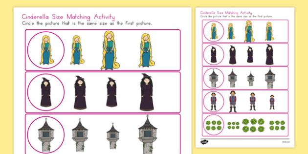 Rapunzel Size Matching Worksheet - australia, rapunzel, size, matching