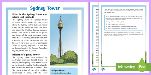 Sydney Tower Fact File-Australia - Sydney Australia, Sydney, Sydney Tower, landmark