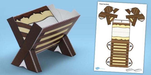 Nativity Manger Paper Model - nativity, manger, paper model
