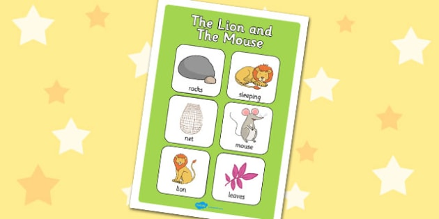 The Lion And The Mouse Vocabulary Poster - vocabulary, poster