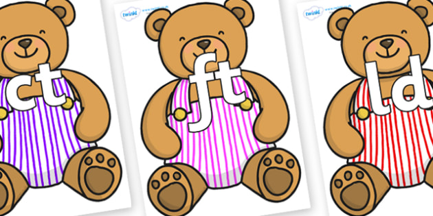 Final Letter Blends on Dungaree Teddy - Final Letters, final letter, letter blend, letter blends, consonant, consonants, digraph, trigraph, literacy, alphabet, letters, foundation stage literacy