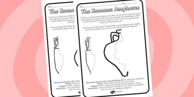 Roman Amphorae Worksheets - romans, amphorae, worksheets, roman