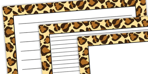 Leopard Pattern Landscape Page Border - safari, safari page borders, leopard page borders, leopard pattern page borders, safari animal pattern page borders