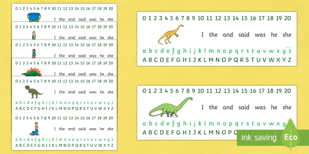 Combined Number and Alphabet Strips to Support Teaching on Harry and the Bucketful of Dinosaurs