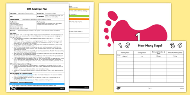EYFS Grandmother's Footsteps Adult Input Plan and Resource Pack - Adult Input Plan, Count Actions, numbers, counting, cannot move, Maths, Mathematics, EYFS Planning