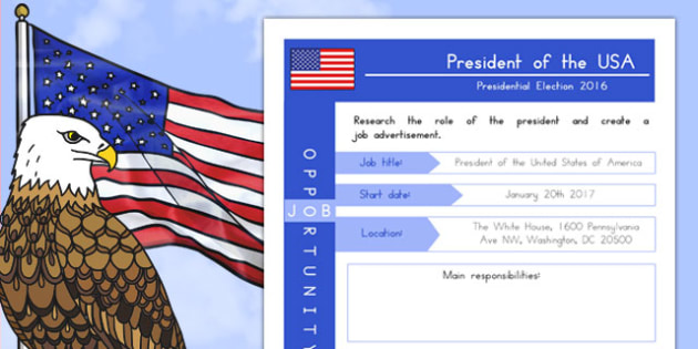 Job Advert: President of the USA Activity Sheet, worksheet