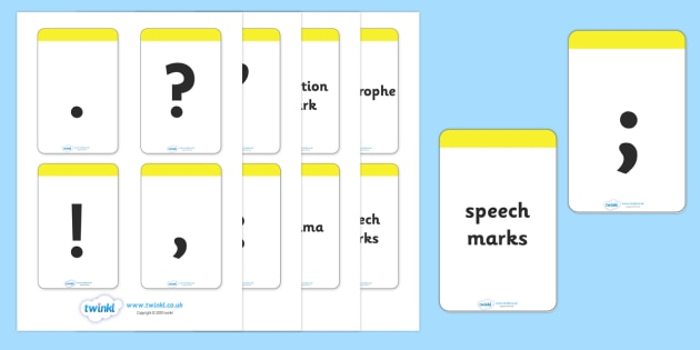 Punctuation Flashcards - Punctuation, VCOP, flashcard, flashcards, writing aid, writing aids, ellipsis, comma, brackets, semicolon, colon,  full stop, capital letter, foundation stage literacy, letters and sounds, DfES, KS1, vcops
