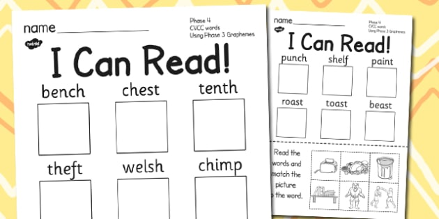 I Can Read Phase 4 CVCC Words Using Phase 3 Graphemes Activity, worksheet