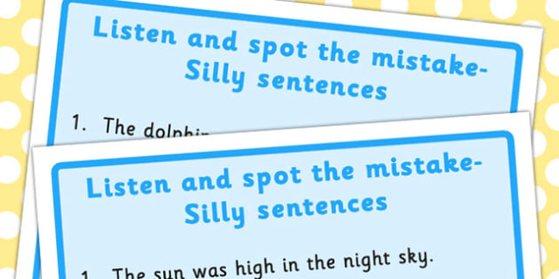 Listen and Spot The Mistake 3 - mistakes, visual, sentences
