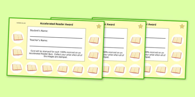 Incentive Stamp Cards to Support the Teaching on Accelerated Reader - English, KS3, KS2, Reading, Accelerated Reader, Accelerated Reading, Incentive, Reward Card