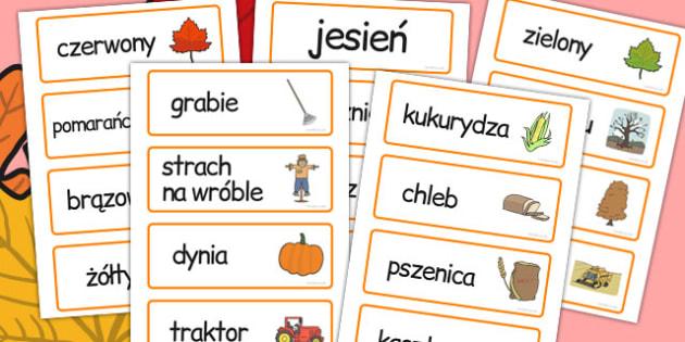 Karty ze slownictwem Jesien po polsku - nauczanie, edukacja , Polish