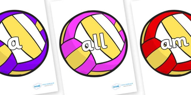Foundation Stage 2 Keywords on Volleyballs - FS2, CLL, keywords, Communication language and literacy,  Display, Key words, high frequency words, foundation stage literacy, DfES Letters and Sounds, Letters and Sounds, spelling