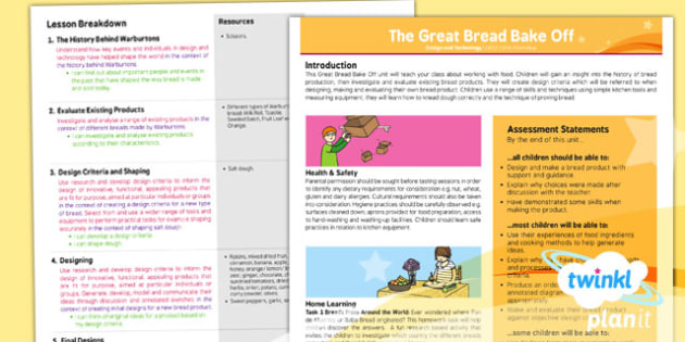 PlanIt - Design and Technology LKS2 - The Great Bread Bake Off Planning Overview