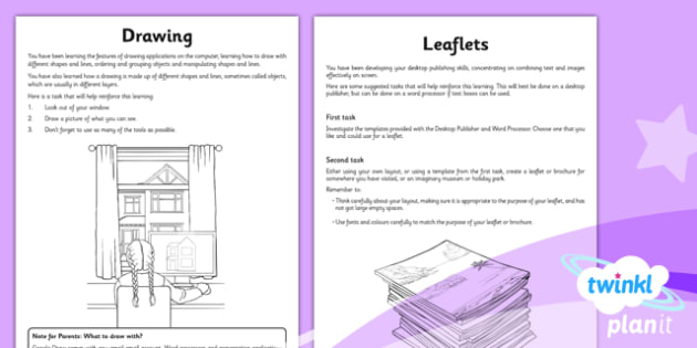 Computing: Drawing and Desktop Publishing Year 3 Unit Home Learning Tasks