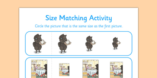Beatrix Potter - The Tale of the Pie and the Patty-Pan Size Matching Activity - beatrix potter, pie, patty pan, size matching