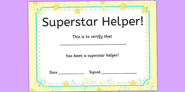 Superstar  Helpers Certificates - display, rewards, celebration, KS1, KS2