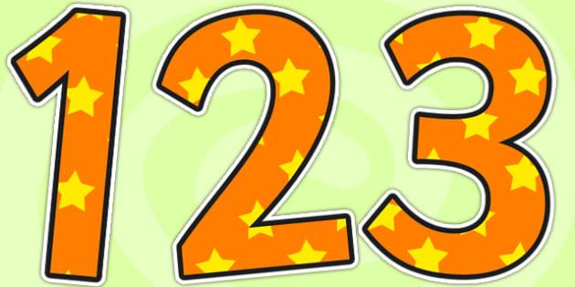 Orange and Yellow Stars Small Display Numbers - stars, display numbers, display lettering, numbers for display, cut out numbers, display letters, number