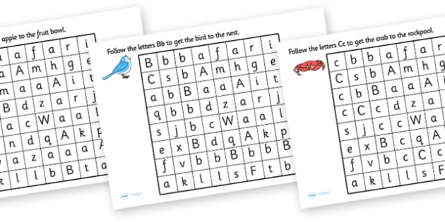 Letter Mazes - letters, maze, puzzle, games, a-z, literacy  , worksheet