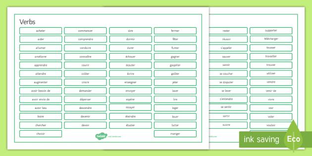 Verbs Word Mat French - French, Grammar, mat, word, verbs.