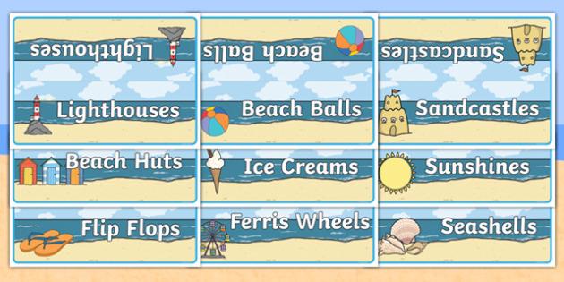 Editable Table Signs Seaside Themed - editable, table signs, group, table, sign, display, seaside