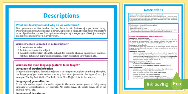 What is a Description? Display Posters-Australia - Literacy, What is a Description?  A4 Display Poster, poster, description, text types, types of text,