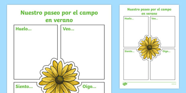 Our Summer Nature Walk Spanish Writing Activity Sheet, worksheet