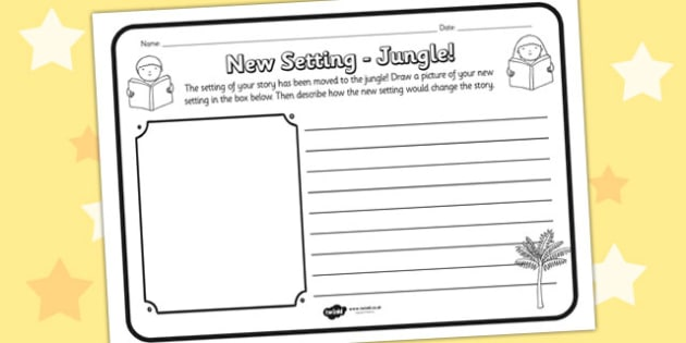 New Setting Jungle Comprehension Worksheet - new setting, jungle, comprehension, comprehension worksheet, character, discussion prompt, reading, discuss