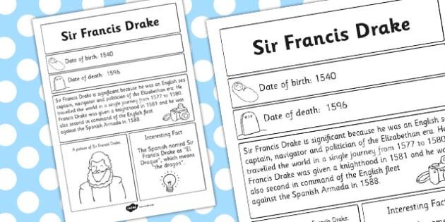 Sir Francis Drake Significant Individual Fact Sheet - fact sheet