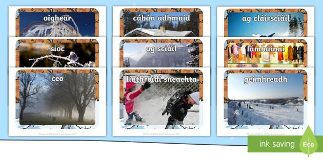 Winter Display Photos Gaeilge-Irish - ROI - An Geimhreadh, winter, Irish, Gaeilge, Aimsir, weather, seasons,Irish