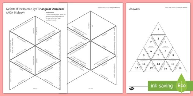 Defects of the Human Eye (AQA Biology) Tarsia Triangular Dominoes - Tarsia, gsce, biology, human eye, sense organ, response, senses, seeing, the eye, eye, vision, myopi, plenary activity