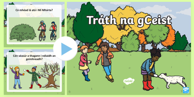 Time of Year Quiz PowerPoint Gaeilge - Mental maths, warm up, revision, time, months of the year, seconds, minutes, seasons, summer, autumn