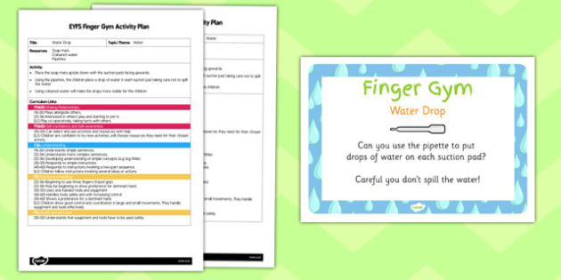 EYFS Water Drop Finger Gym Activity Plan and Prompt Card Pack