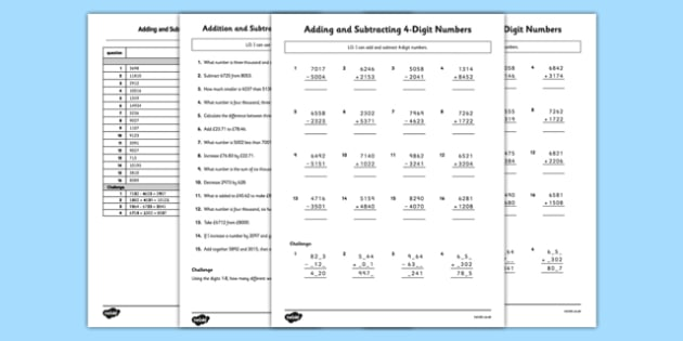 Adding and Subtracting 4-Digit Numbers Column Method Activity Sheet Pack - adding, subtracting, 4 digit numbers, column method, activity sheet, worksheet