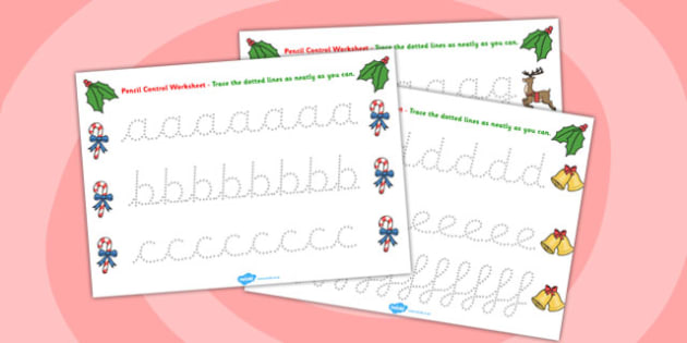 Christmas Themed Pencil Control Worksheets Full Alphabet - letter