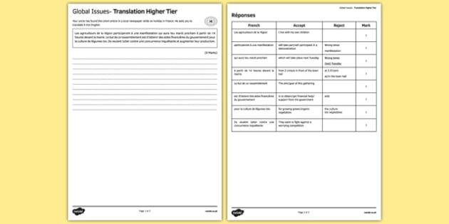 Les enjeux mondiaux Traduction Higher Tier - environment, world, globe, french, francais, gcse, practice