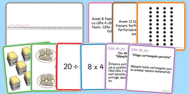 Tabla inmultirii si a impartirii cu 4, Cartonase - joc
