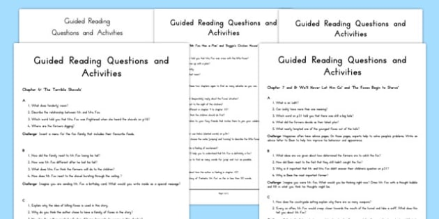 Levelled Guided Reading Resource Pack to Support Teaching on Fantastic Mr Fox - australia